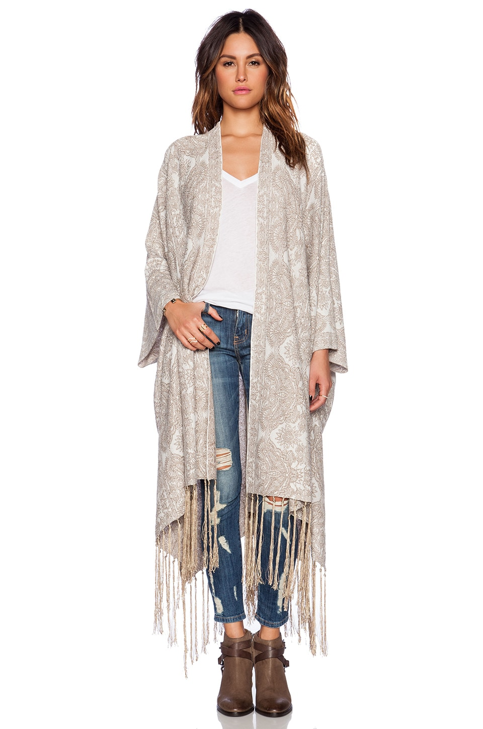 Free People Hendrix Cardigan in White Gold Combo