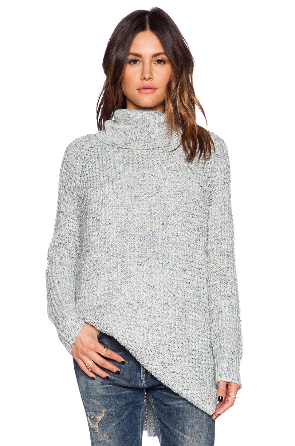 Free People Dylan Tweedy Neck Pullover in Ice Blue Combo