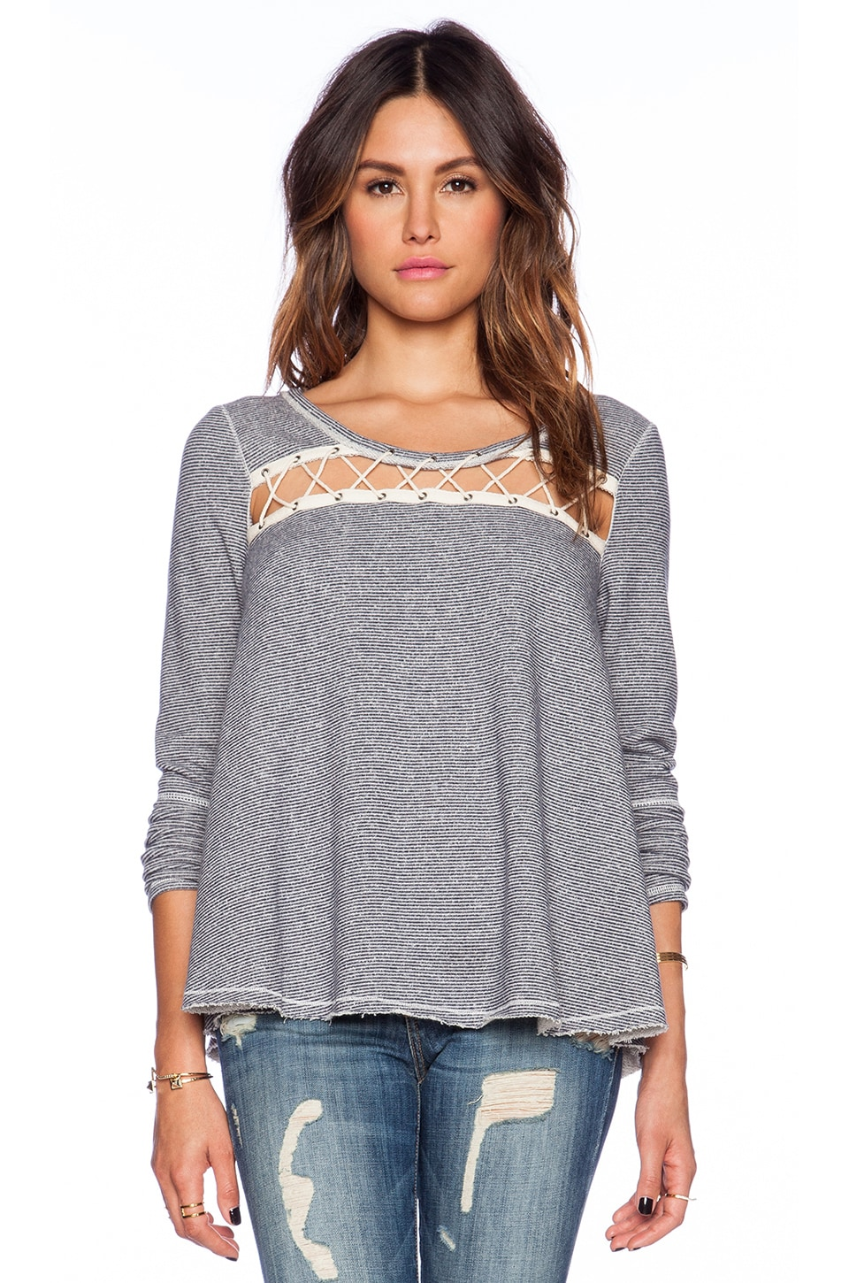 Free People Lacey Love Pullover in Indigo Combo