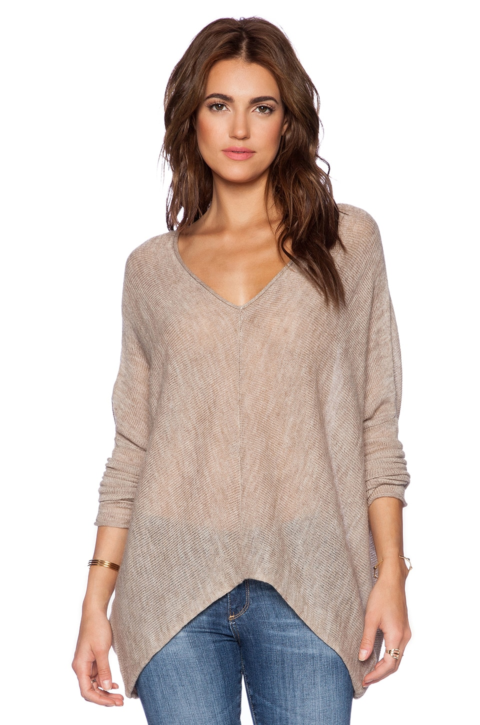 Free People Sadie V Pullover in Oatmeal