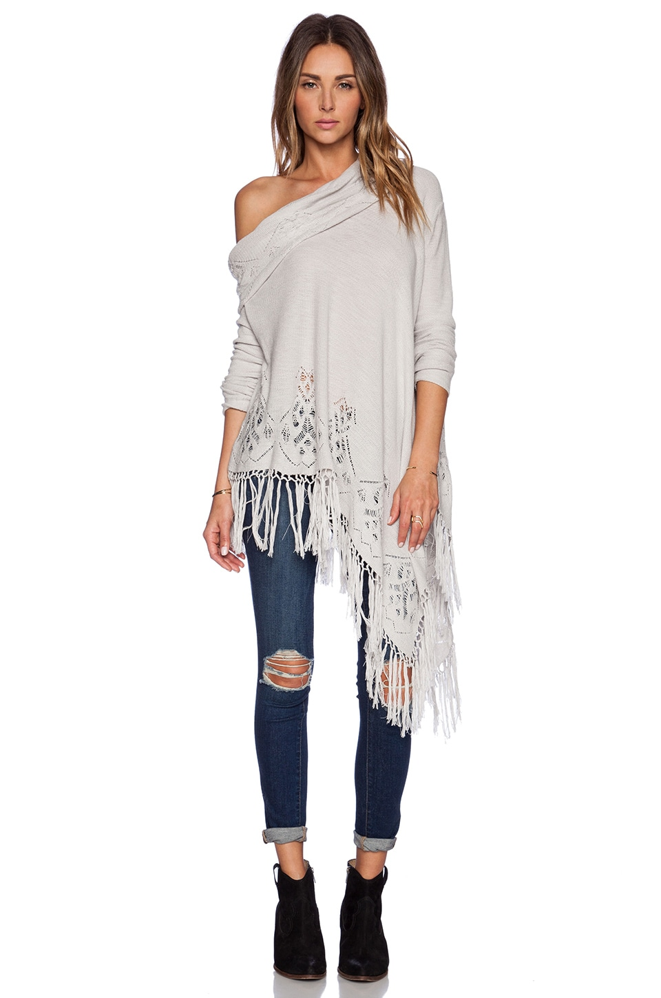 Free People Temptress Cowl Sweater in Silver Combo