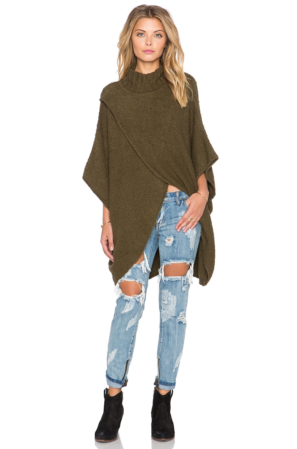 Free People All Wrapped Up Cocoon Sweater in Martini