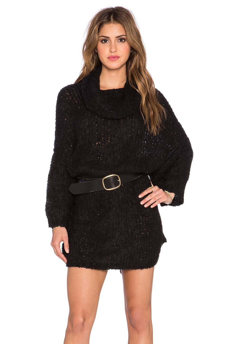 Free People Extreme Cowl Sweater in Black