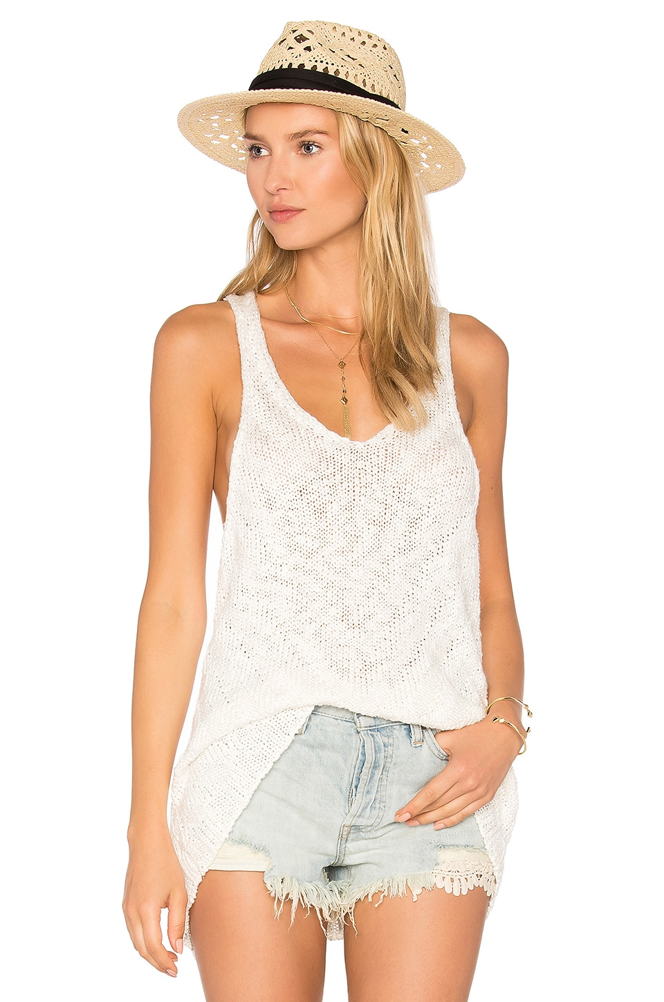 Free People Chevron Sweater Tank in Ivory