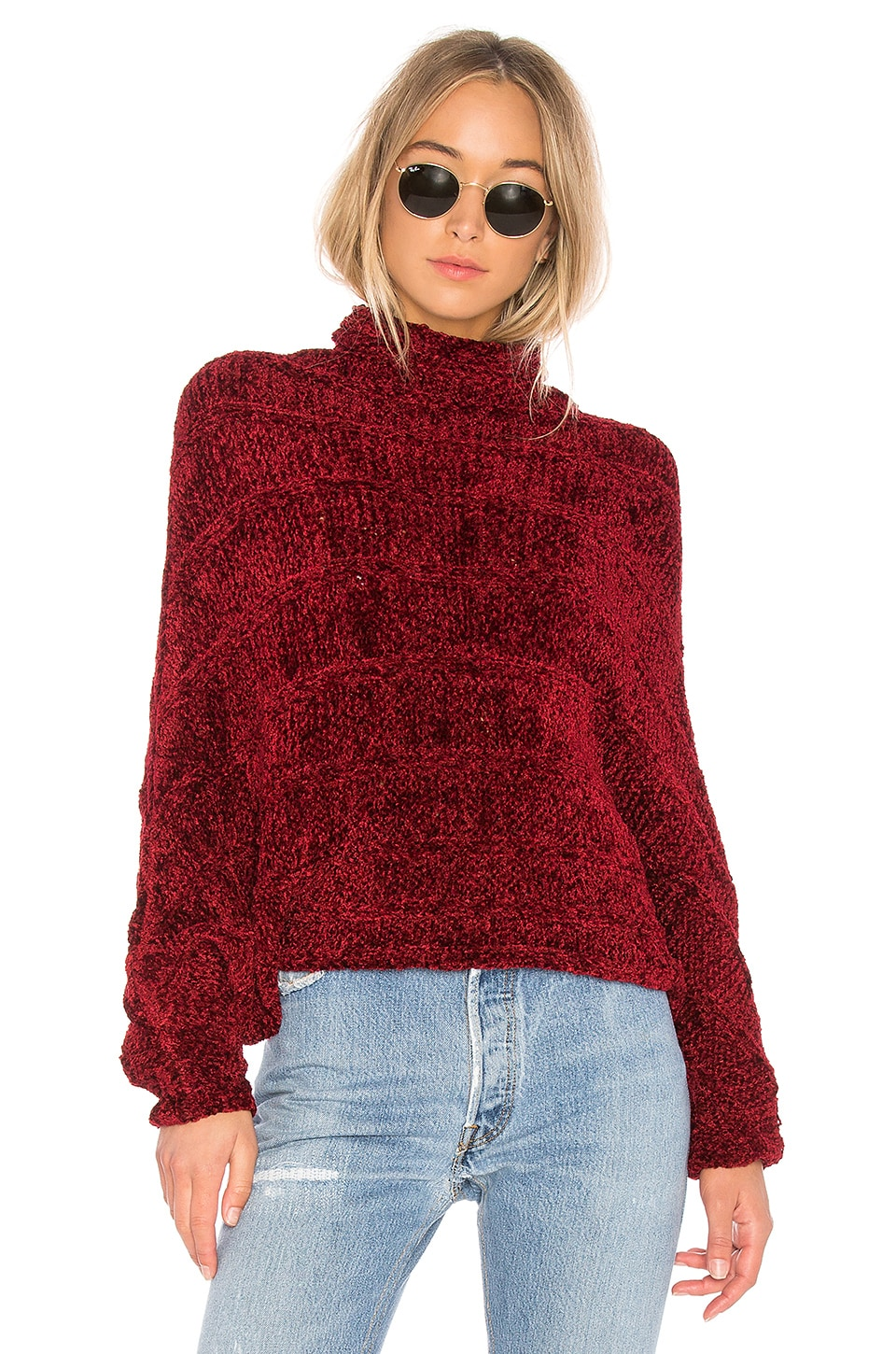 Free People Velvet Dreams Pullover Sweater in Wine