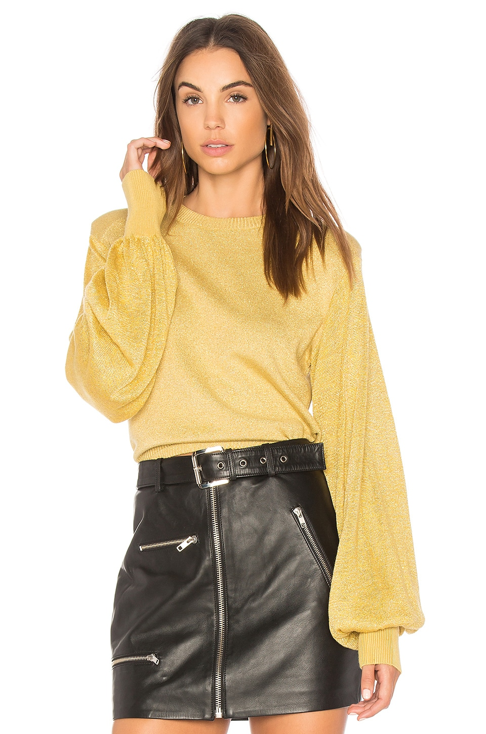 Free People Yellow Let It Shine Pullover Sweater
