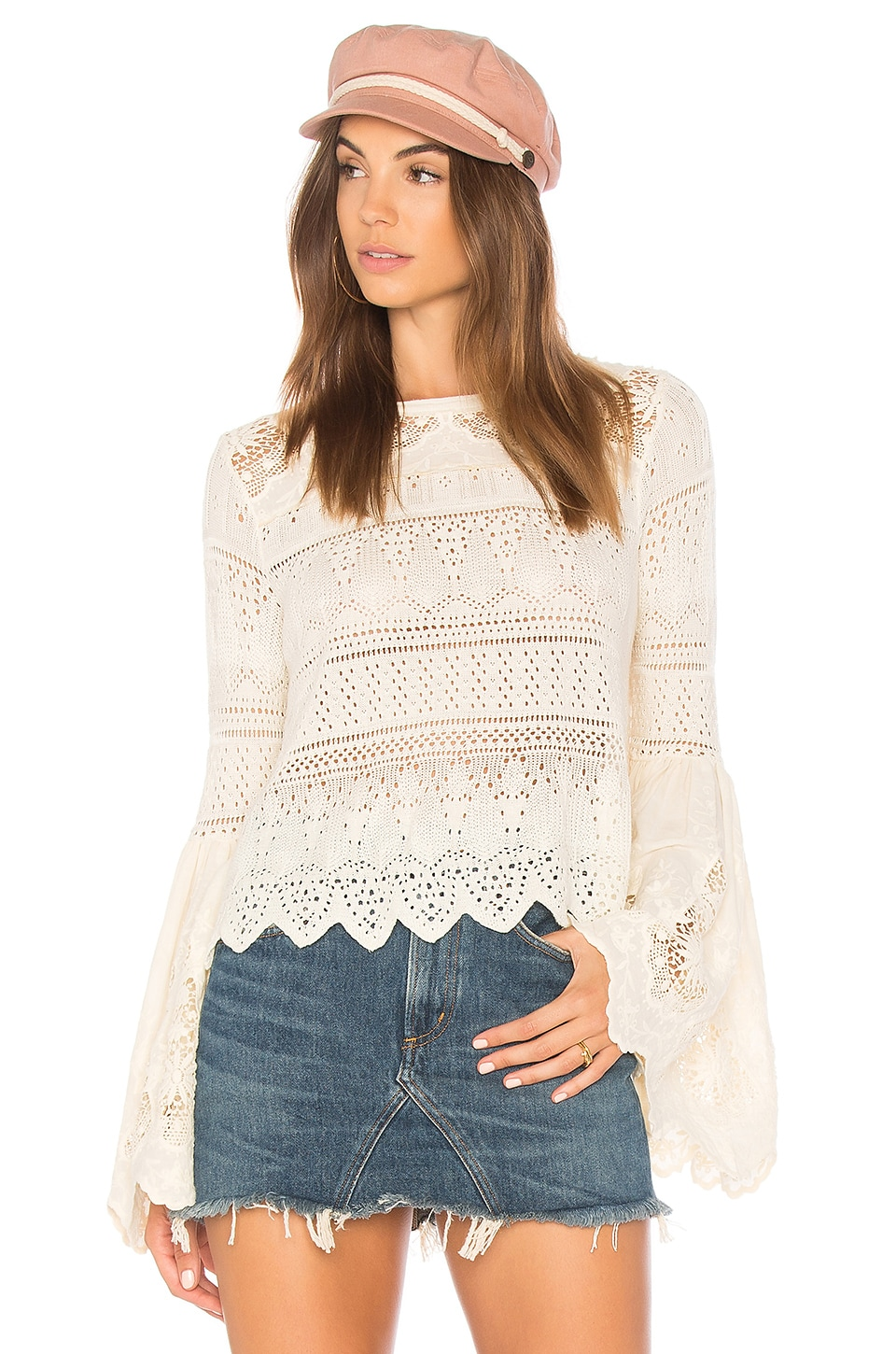 Free People Once Upon a Time Sweater in Ivory