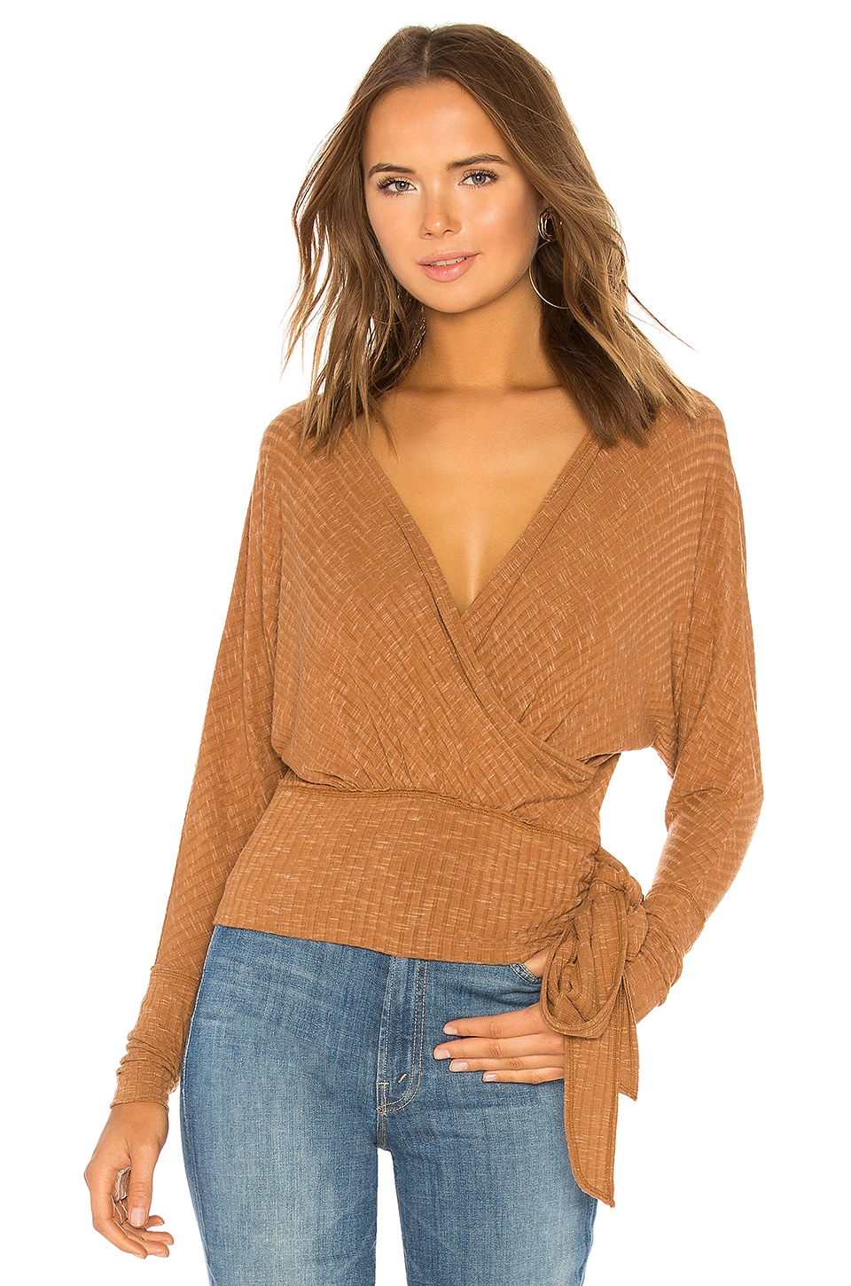 Free People East Coast Wrap Sweater in Copper
