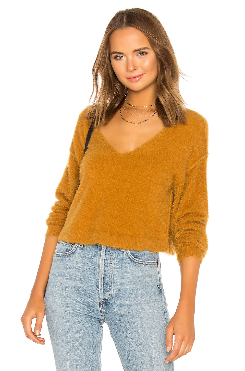 Free People Princess V Neck Sweater in Gold