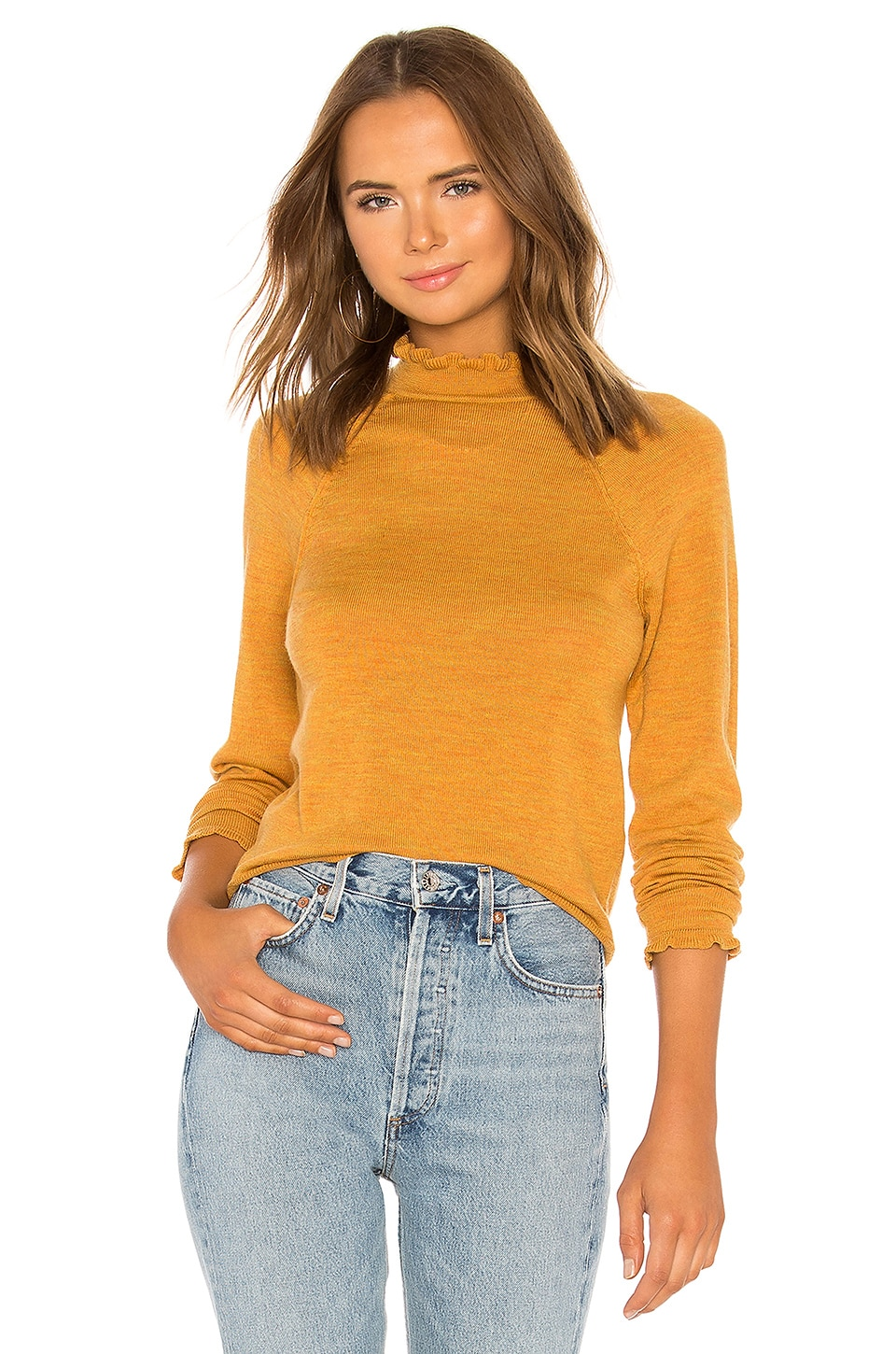 Needle And Thread Merino-Wool Sweater in Mustard