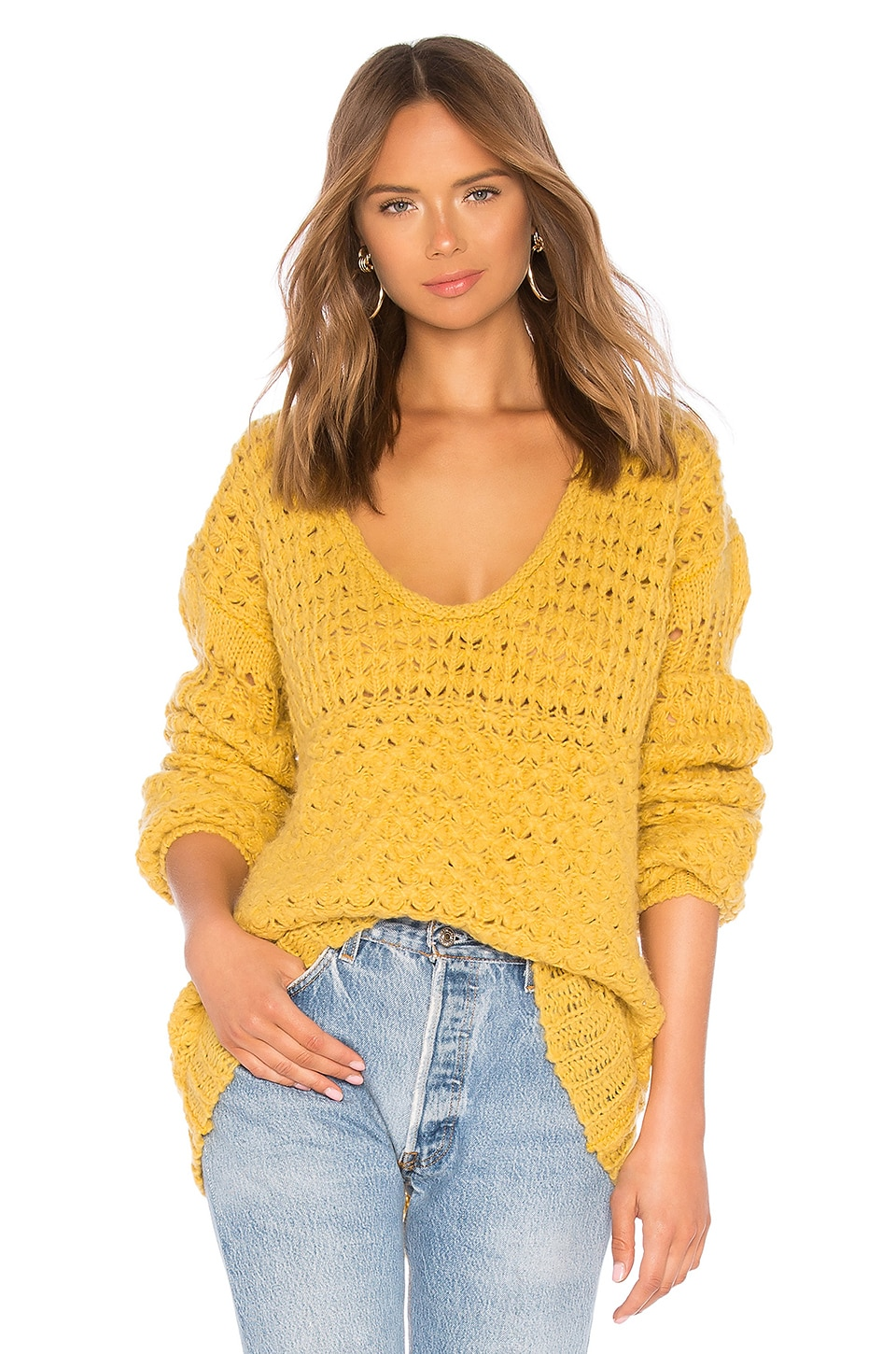 Free People Crashing Waves Pullover in Chartreuse