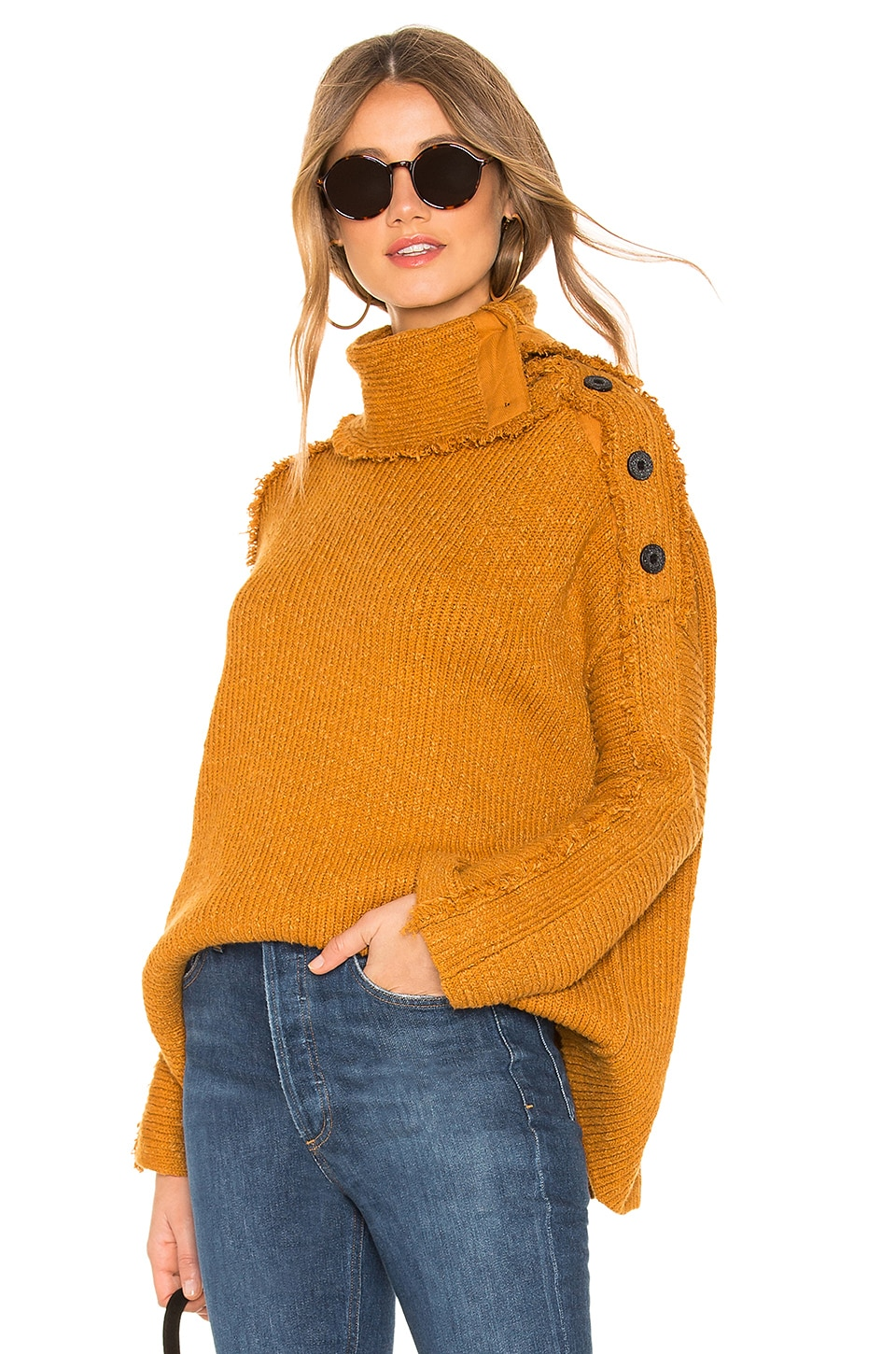 Free People On My Side Pullover in Gold