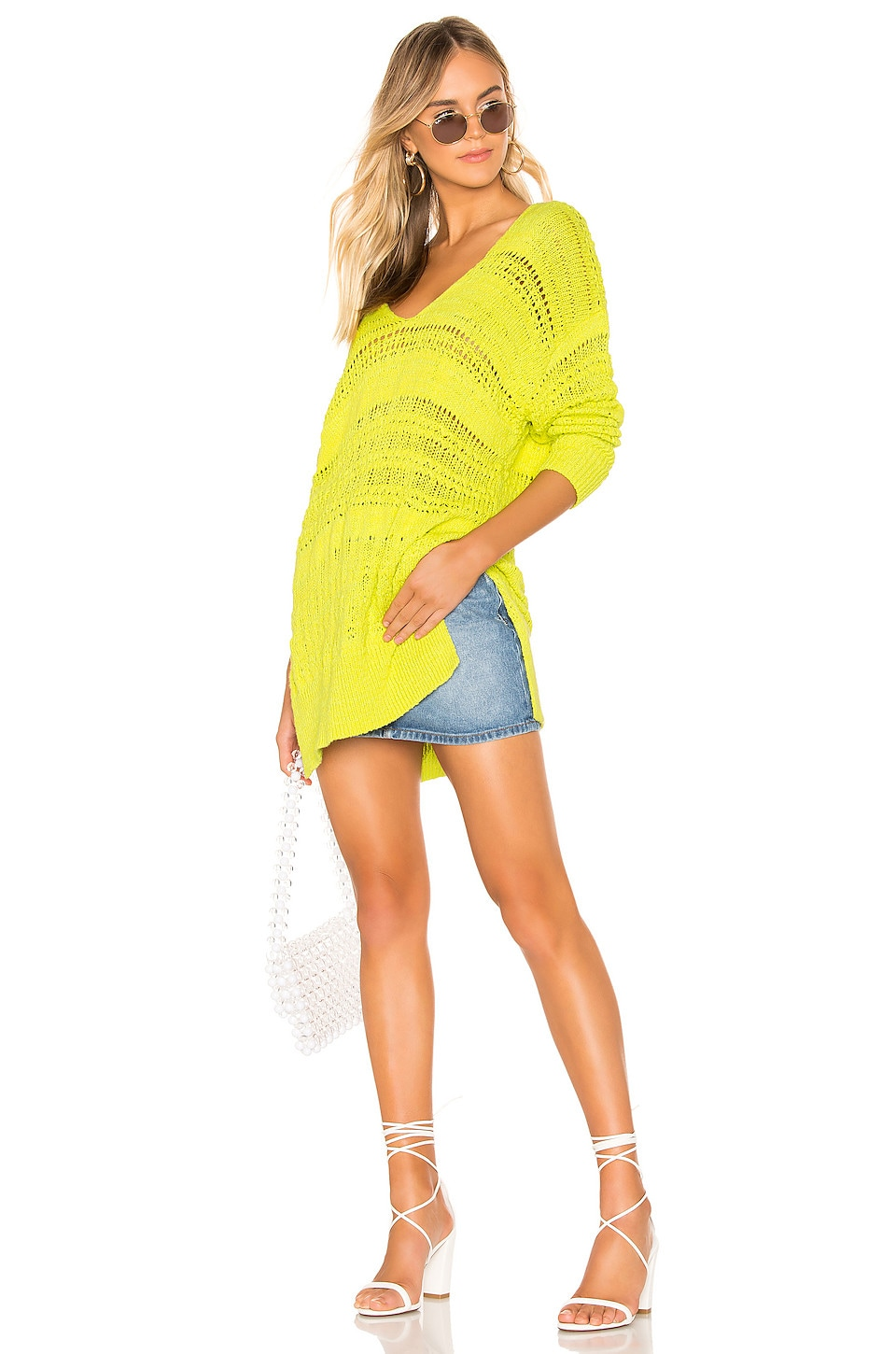Free People Hot Tropics Pullover in Lime