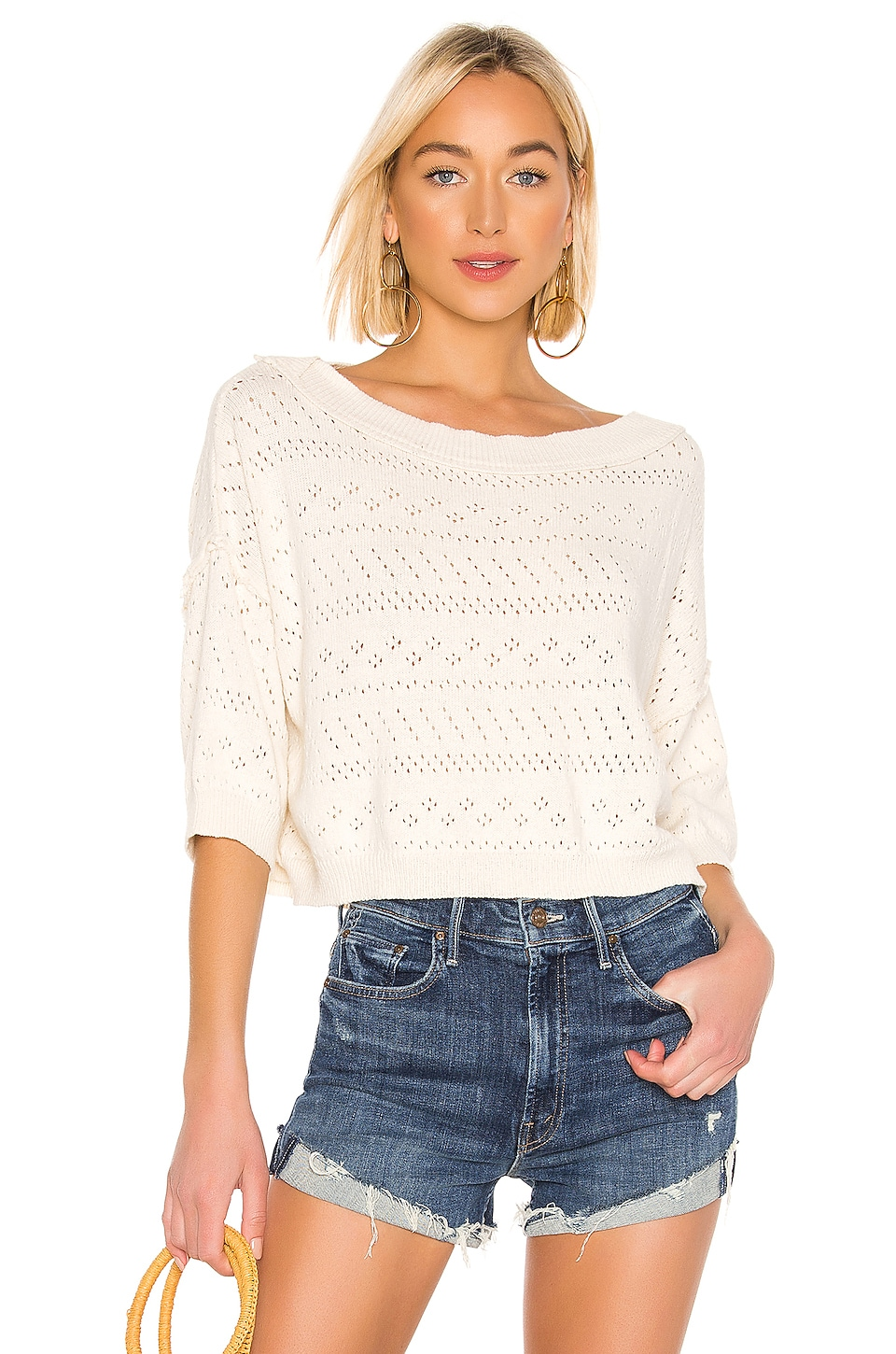 Free People Sand Castle Sweater in White