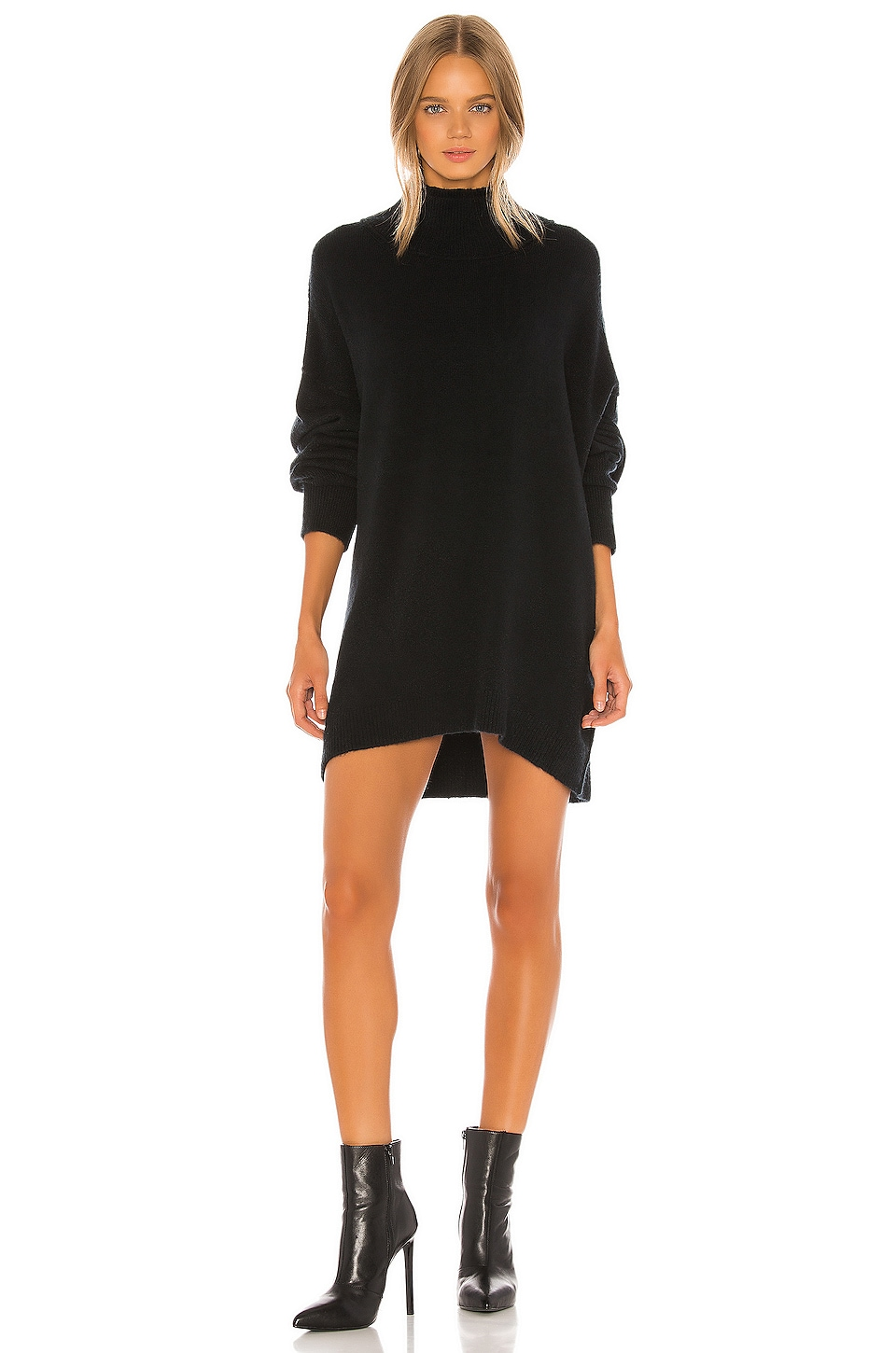 Free People Afterglow Mock Neck Sweater Dress in Black