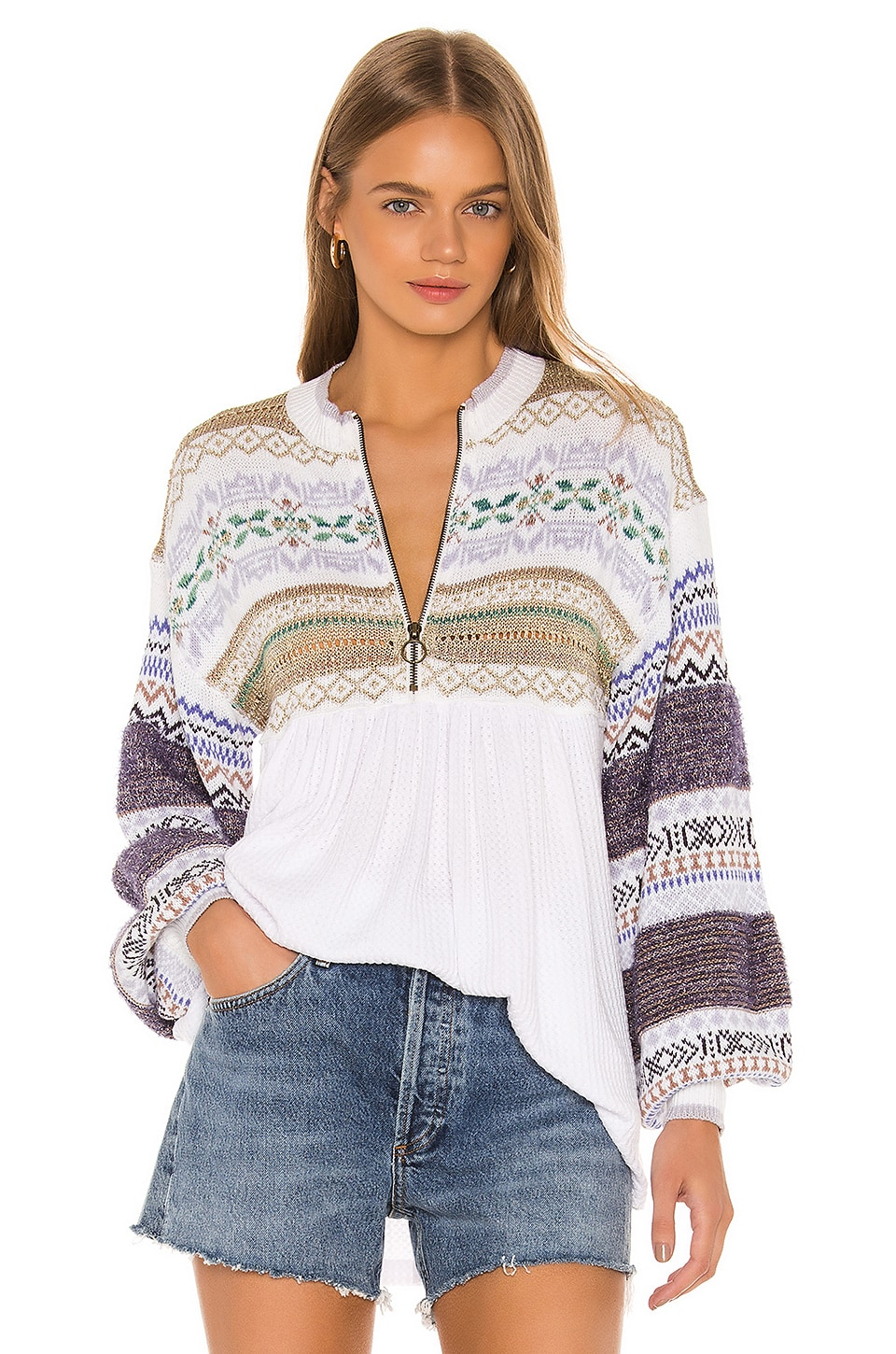 Free People Cozy Cottage Sweater in White