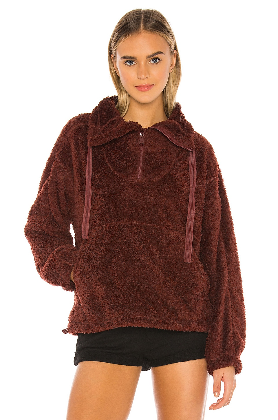 Free People X FP Movement Big Sky Hi Neck Pullover in Dark Red