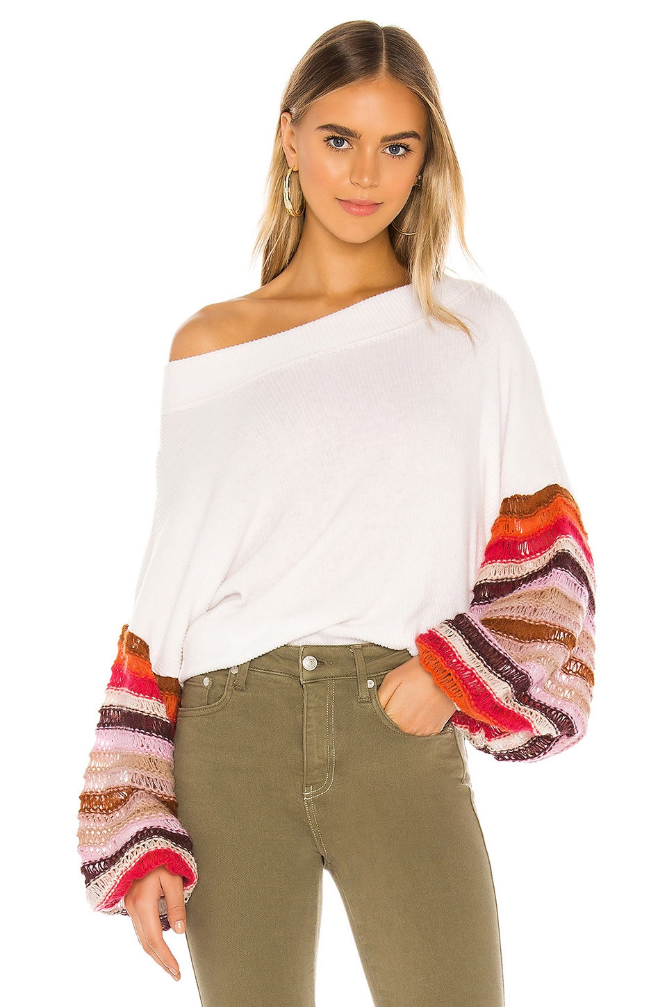 Free People Cha Cha Sweater in White