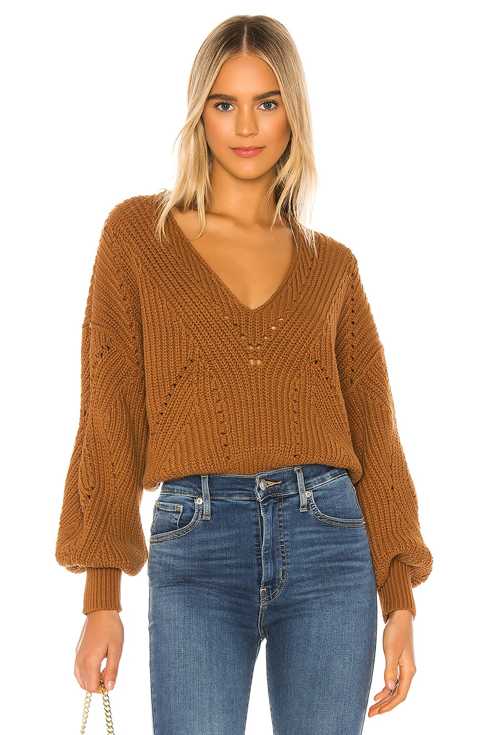 Free People All Day Long V Sweater en Brown