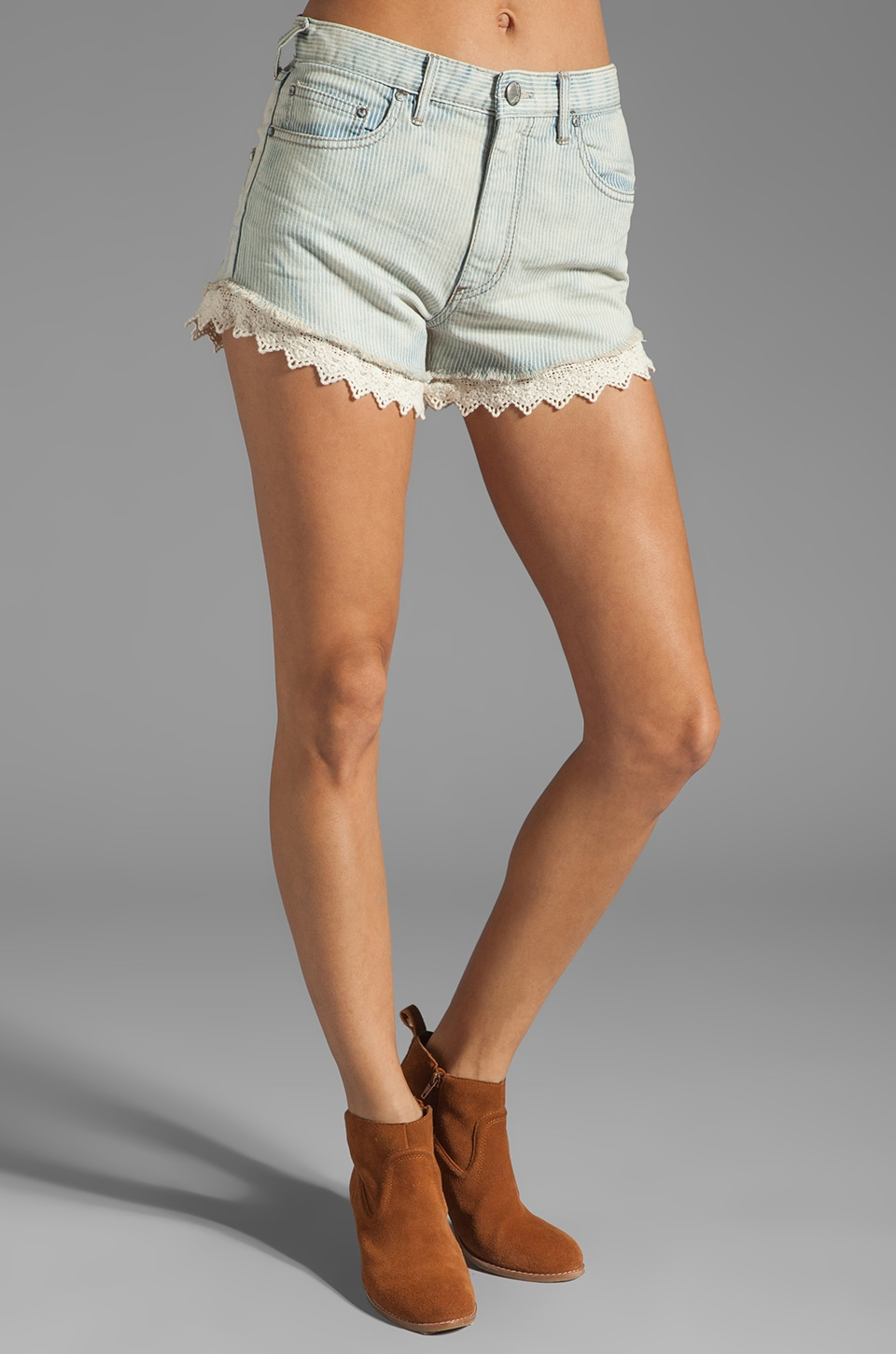 Free People Railroad Lacey Cut Offs in Pacific Wash