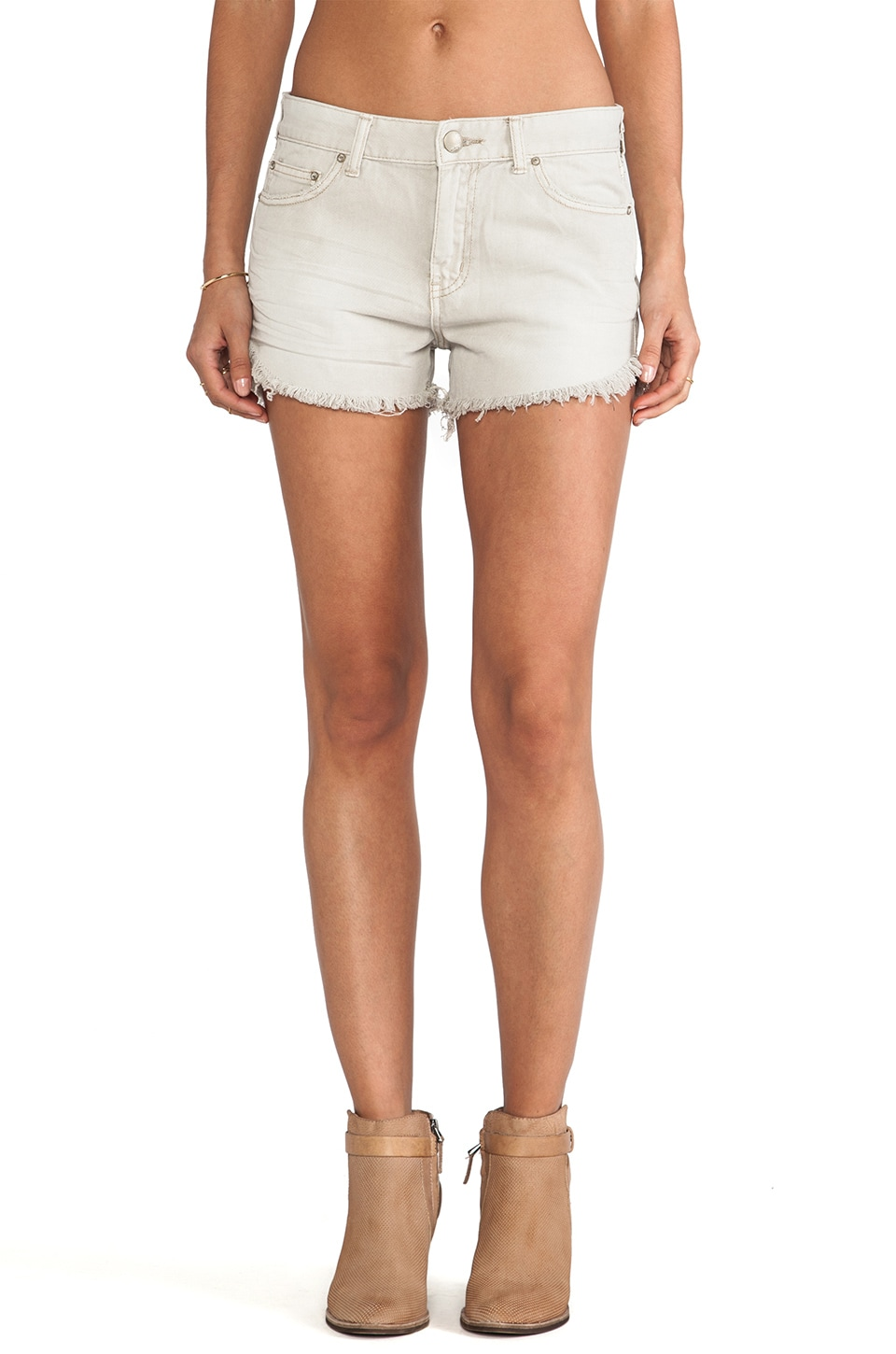 Free People Rugged Ripped Denim Short in Chalk
