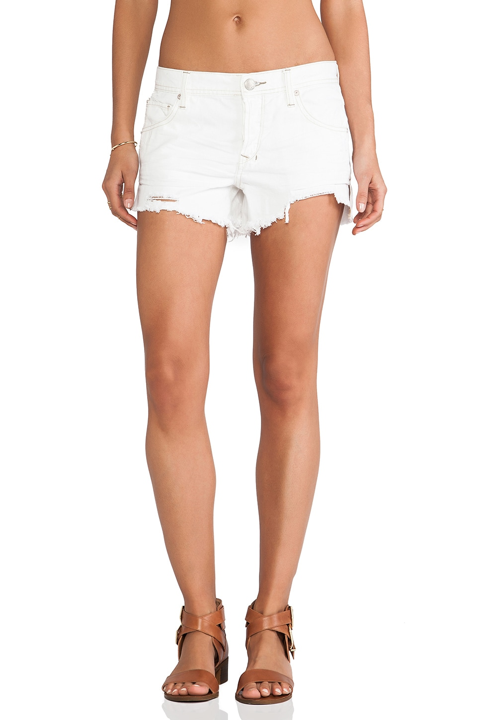 Free People Sharkbite Shorts in Polar White