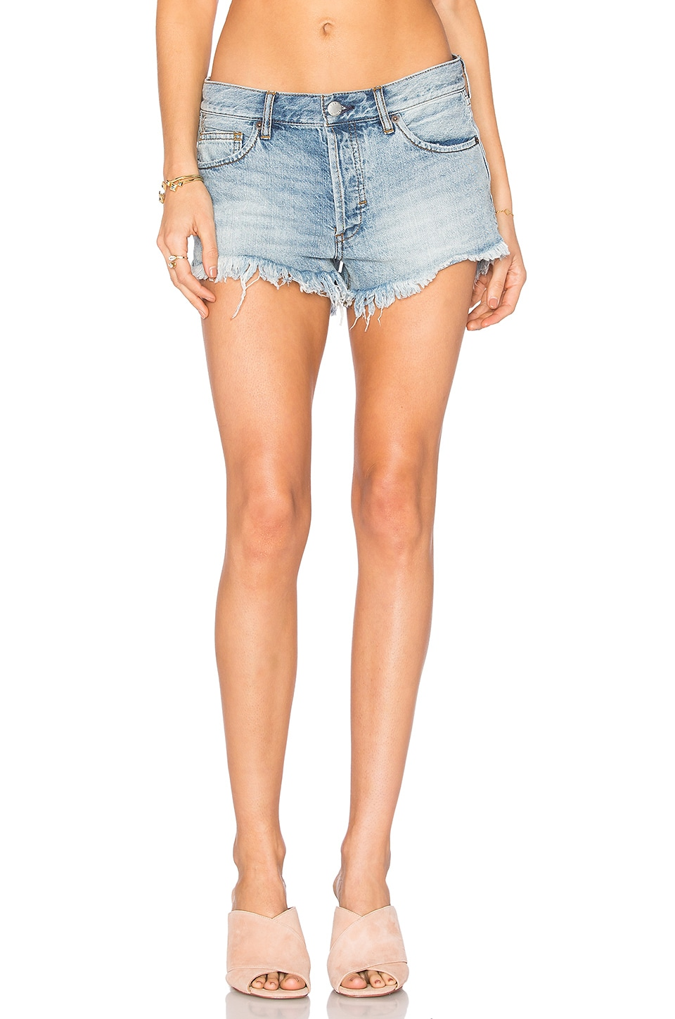 Free People Soft & Relaxed Cut Off Shorts in Light Denim | REVOLVE