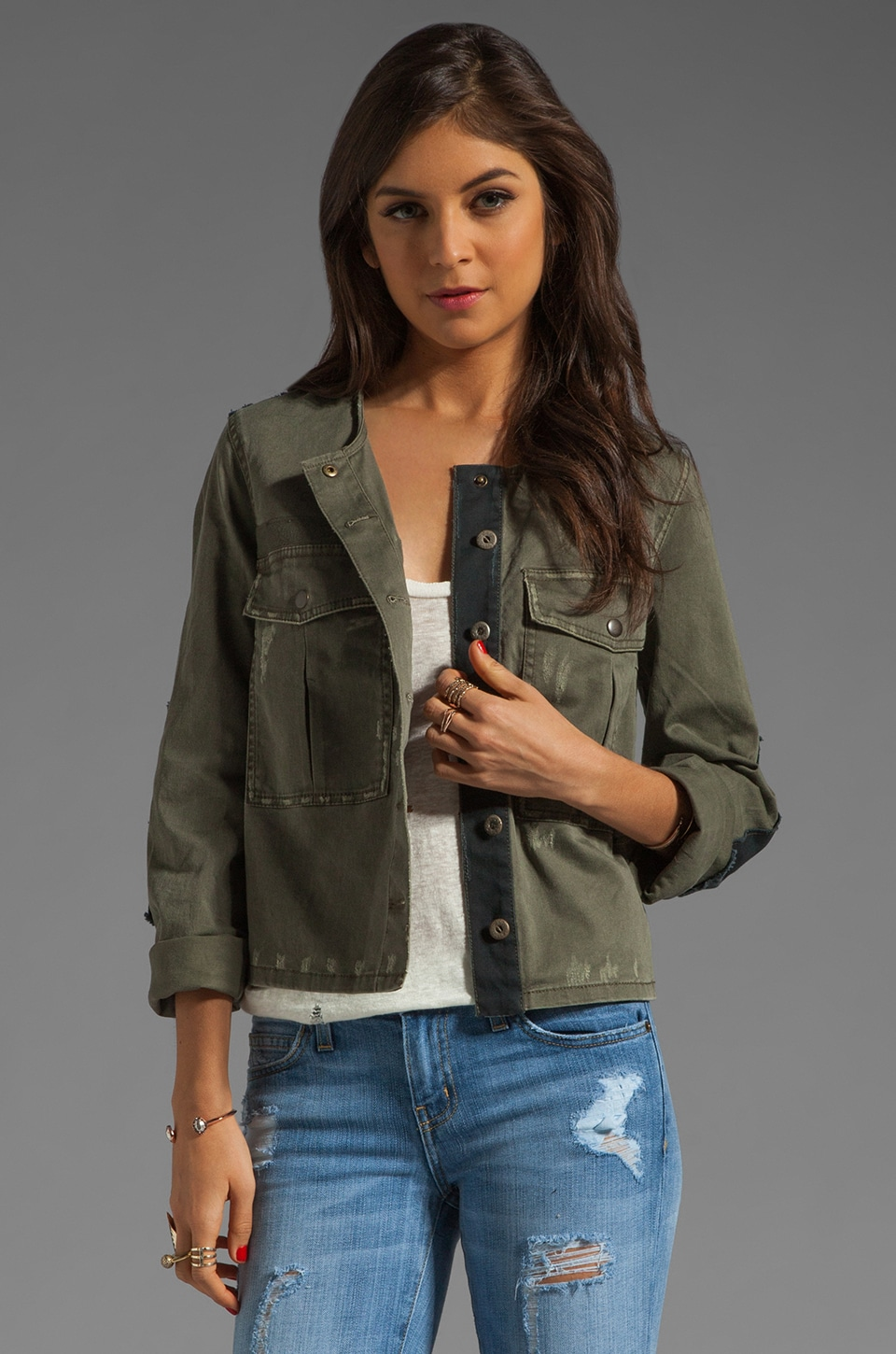 Free People Military Jacket in Military Green
