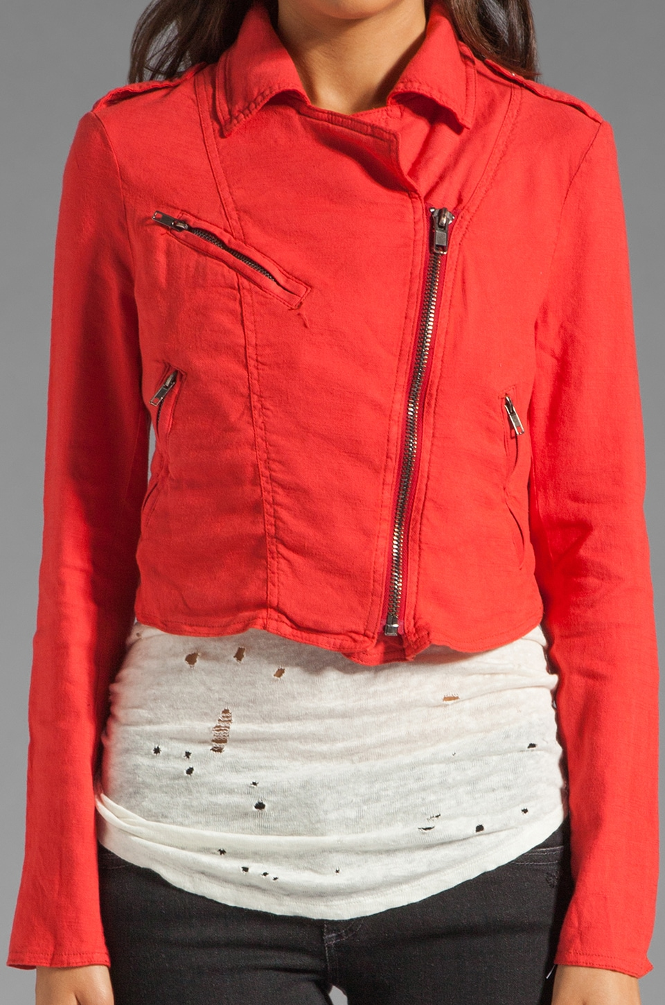Free People Linen Moto Jacket in Cherry