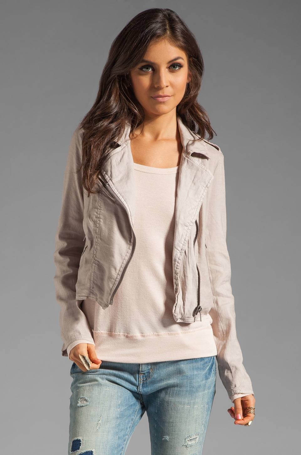 Free People Linen Moto Jacket in Fog