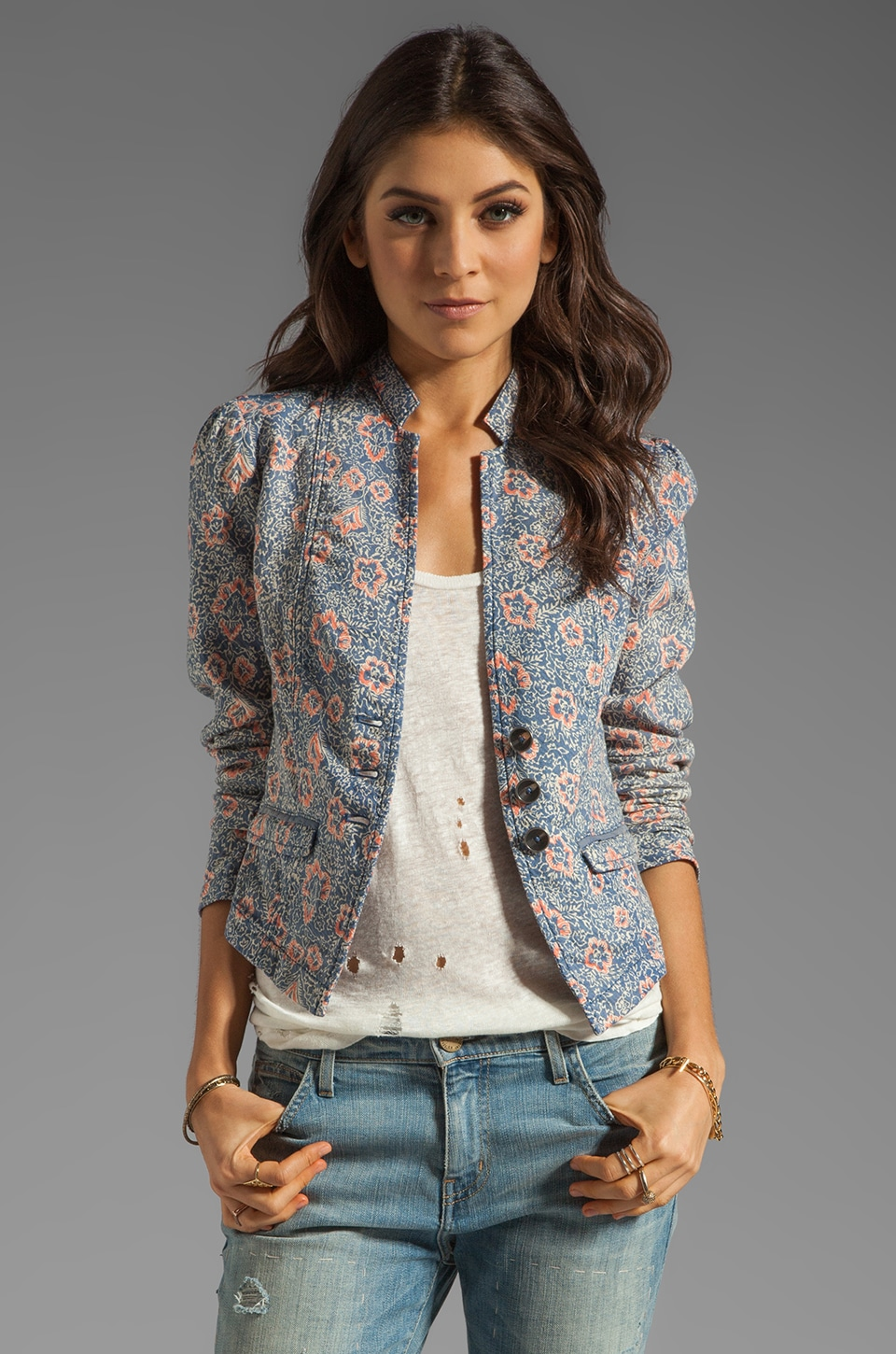Free People Printed Blazer in Blue Combo