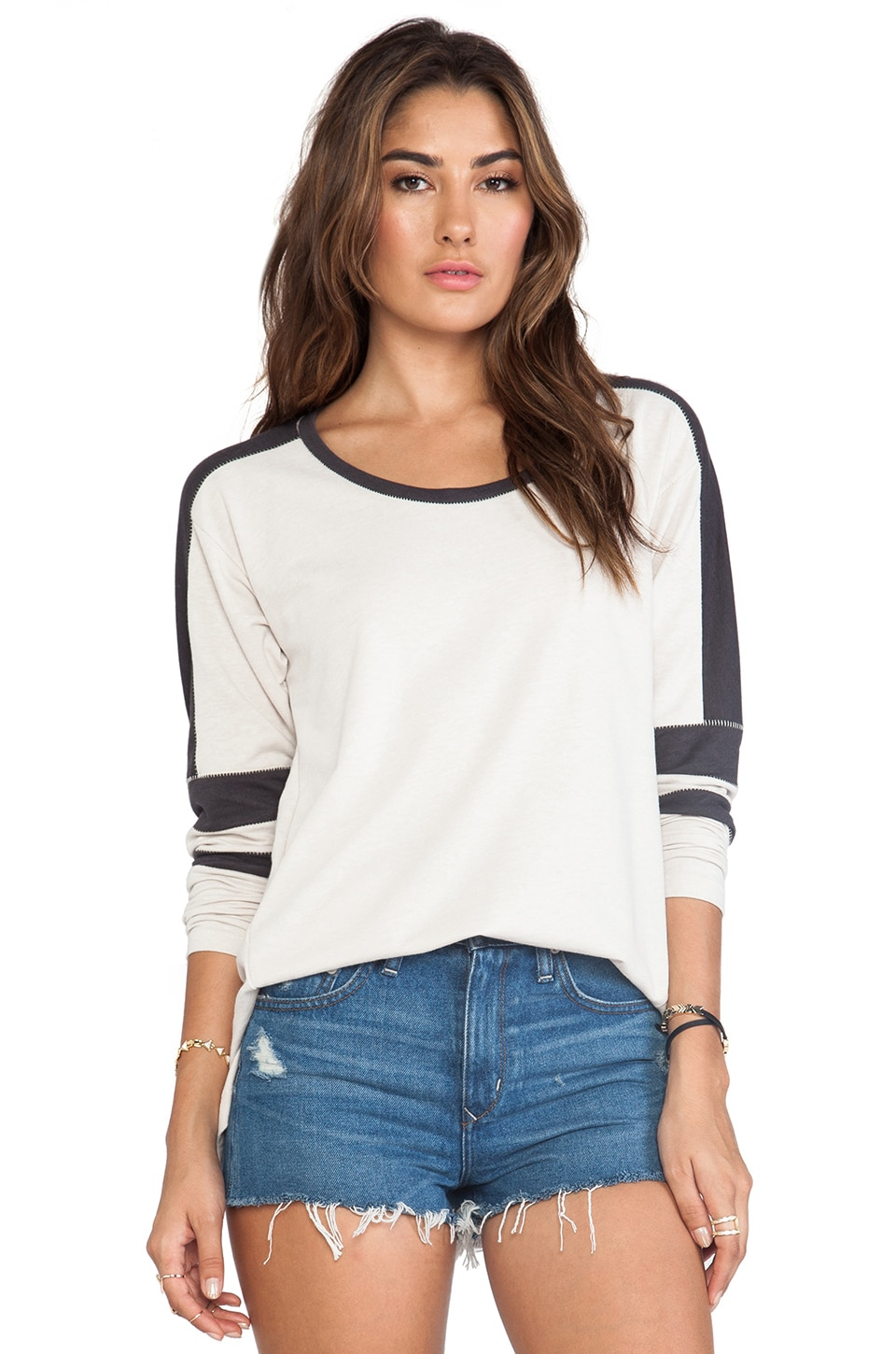 Free People Color Block Pullover in Sand/Gunmetal Combo
