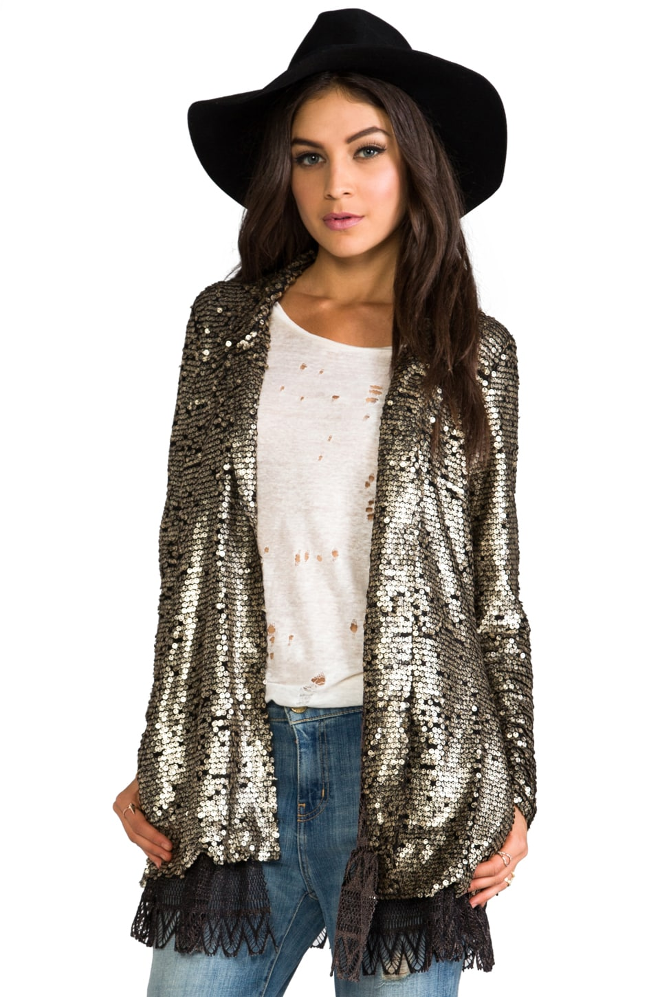 Free People Tarnished Sequin Stardust Jacket in Gold