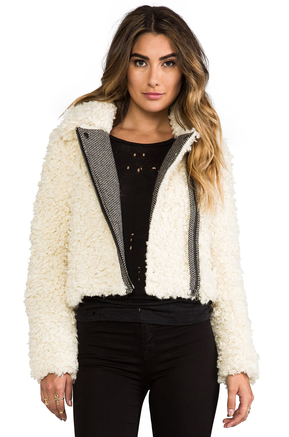 Free People Shaggy Faux Sherpa Moto Jacket in Ivory