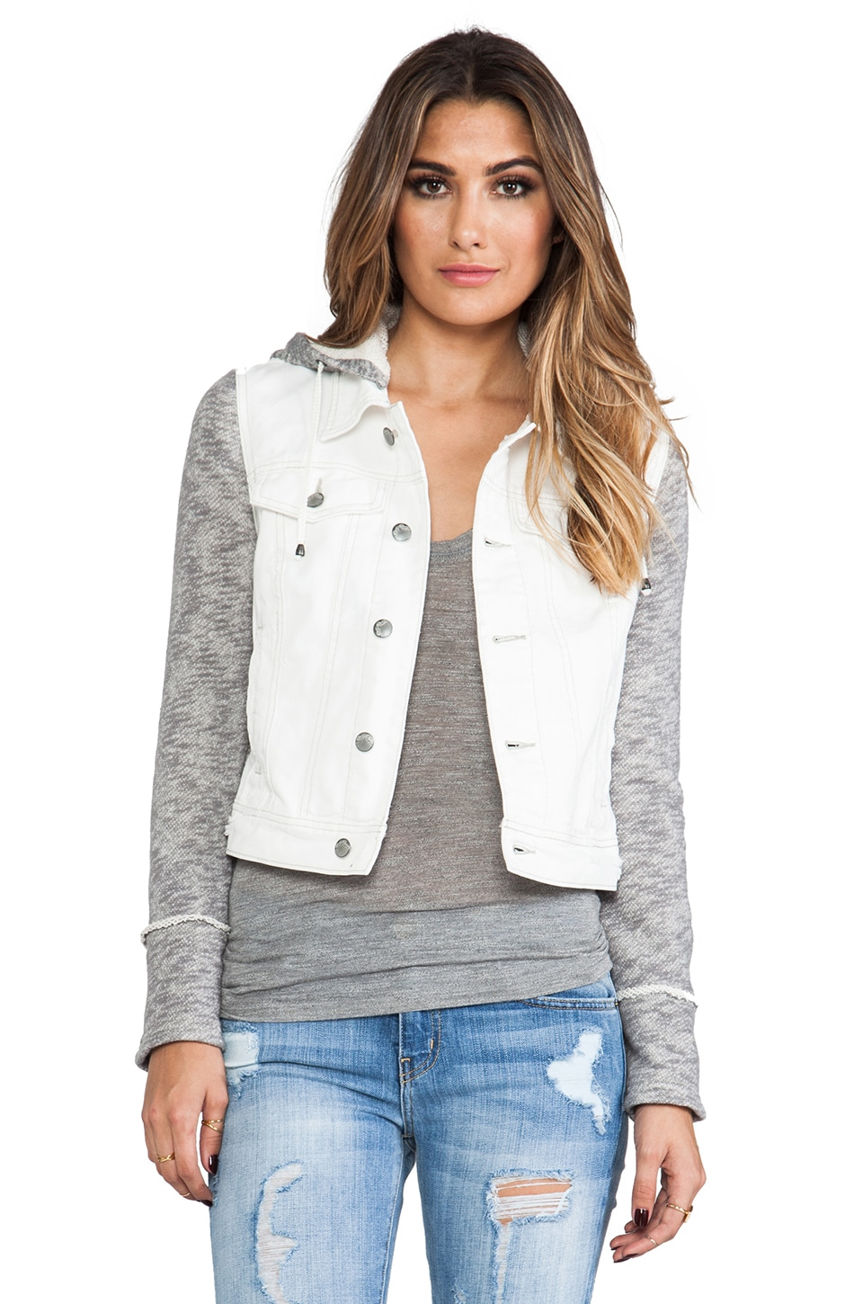 Free People Denim/Knit Hoodie Jacket in Ivory Combo