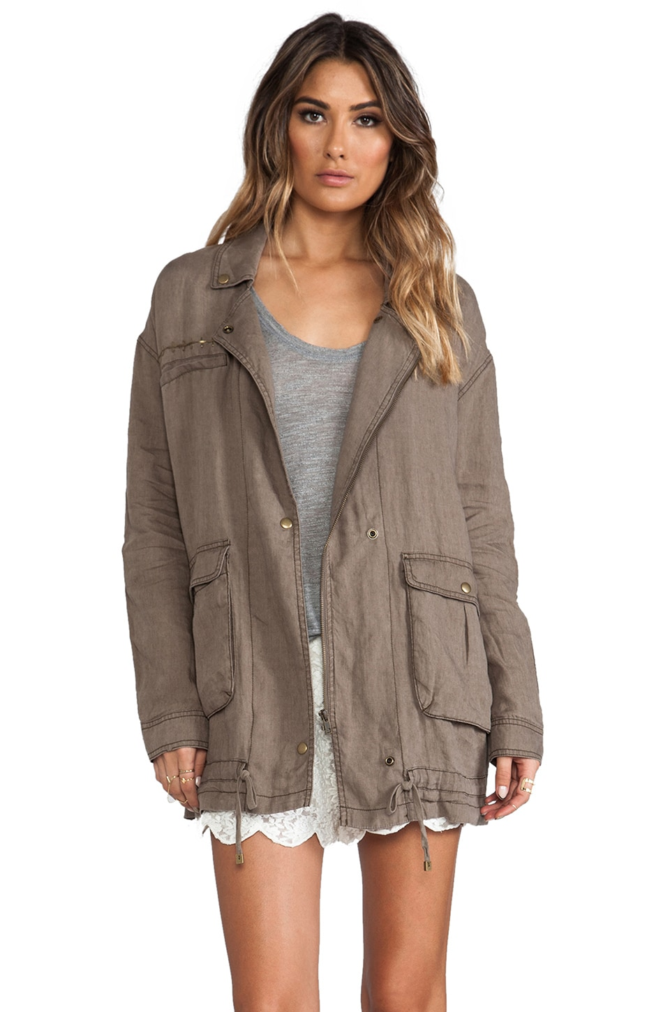 Free People Rugged Embroidered Twill Jacket in French Olive