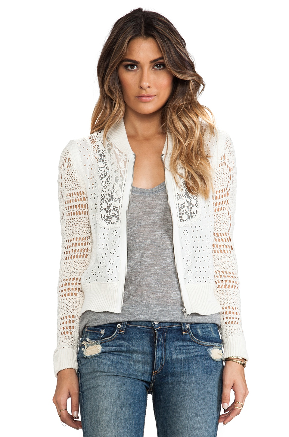 Free People Sun Storm Bomber Jacket in Ivory Combo