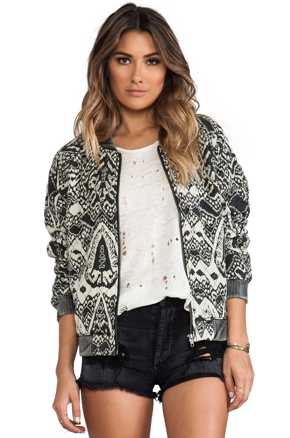 Free People Quilted Bomber in Black & Taupe Combo