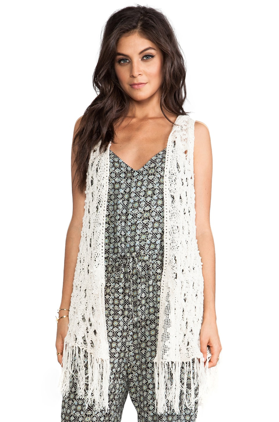 Free People Weave Away Vest in Ivory