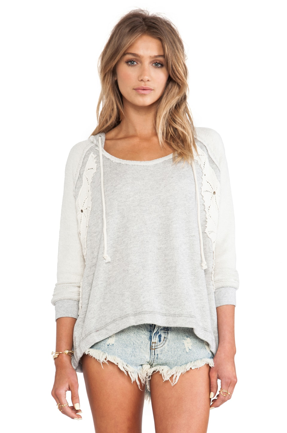 Free People Only You Hoodie in Grey Heather Combo