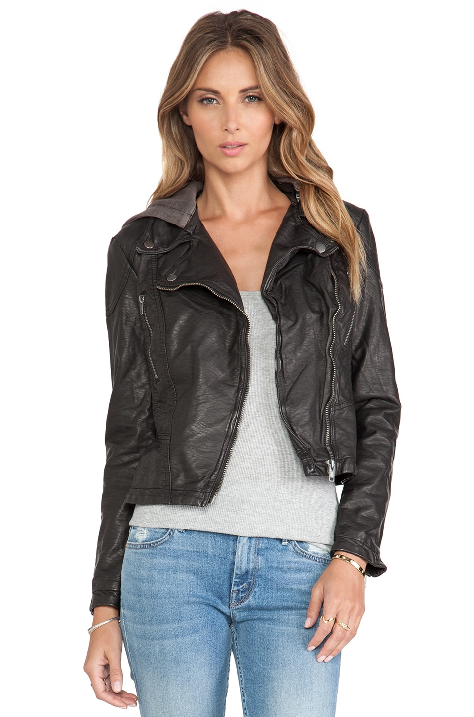 Free People Vegan Leather Hooded Moto Jacket in Black