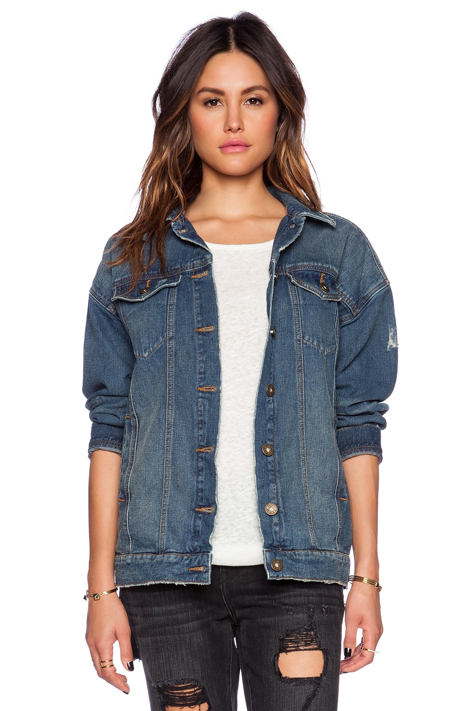 Free People Long Denim Jacket in Alabama Wash