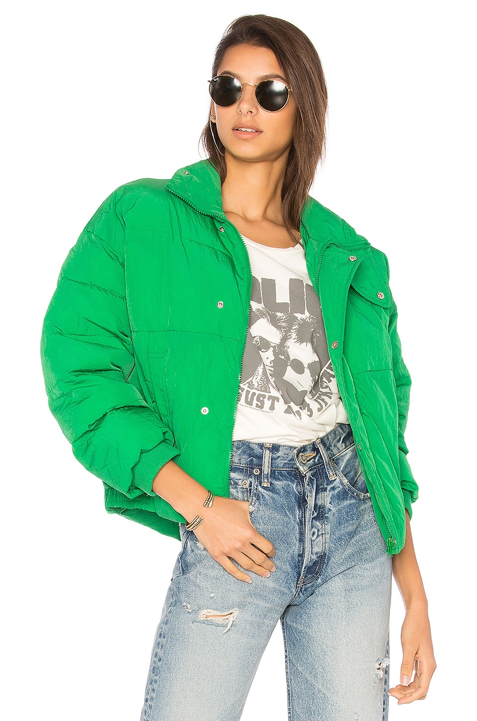 Free People Slouchy Cropped Puffer Coat in Green