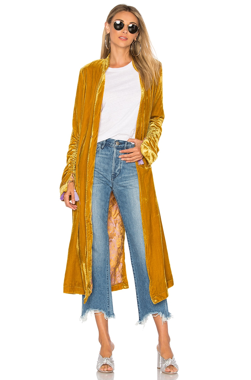 Free People Dhalia Velvet Duster Coat in Gold