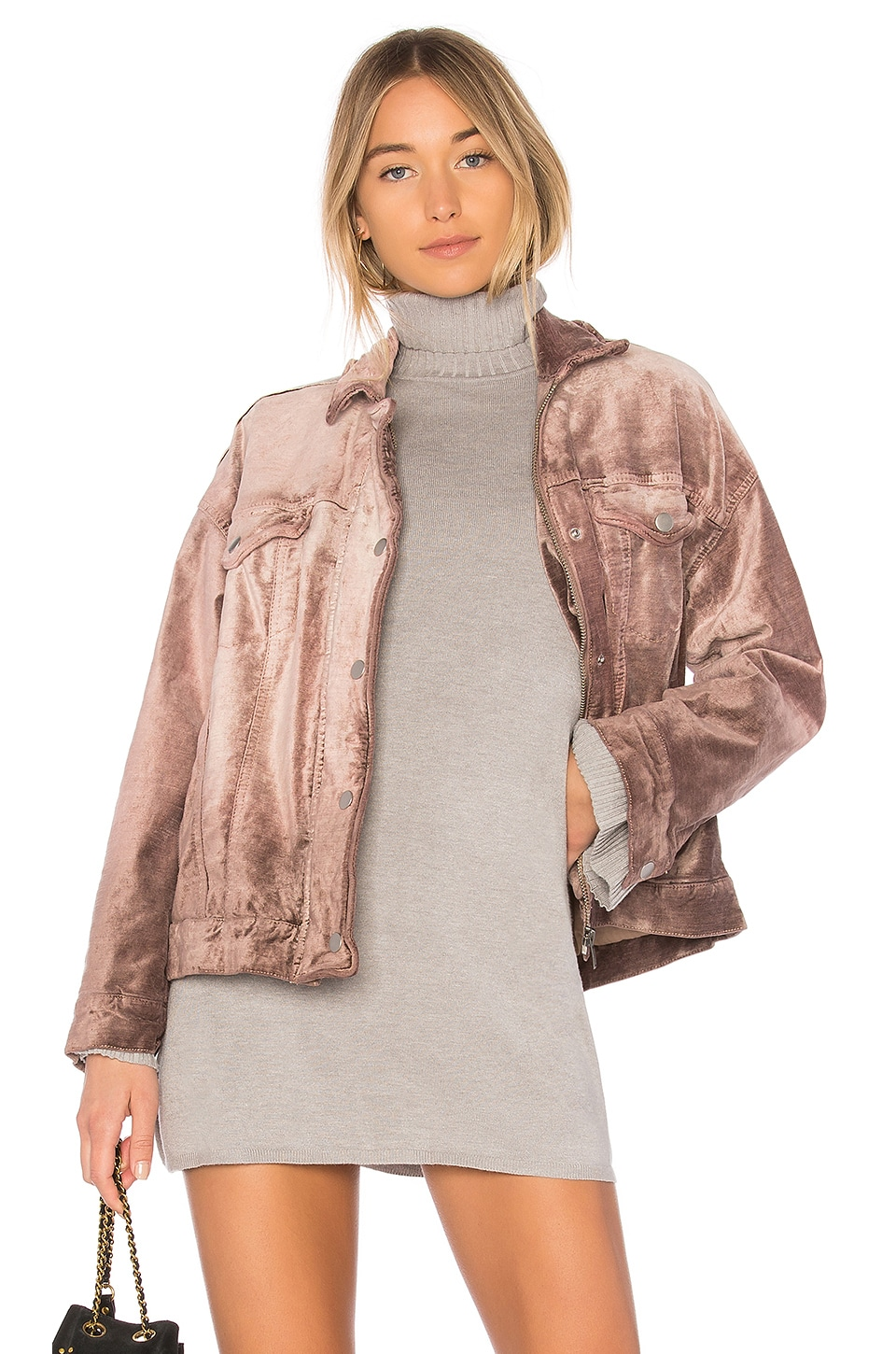 Free People Velvet Trucker Jacket in Mauve