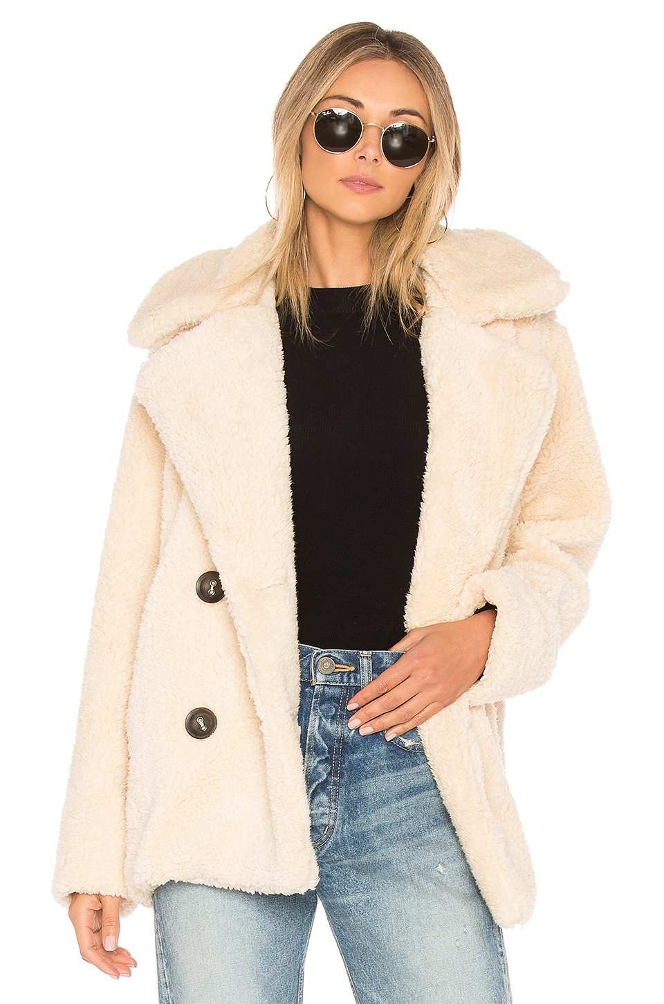 5368635529fc Free People Notched Teddy Peacoat in Ivory