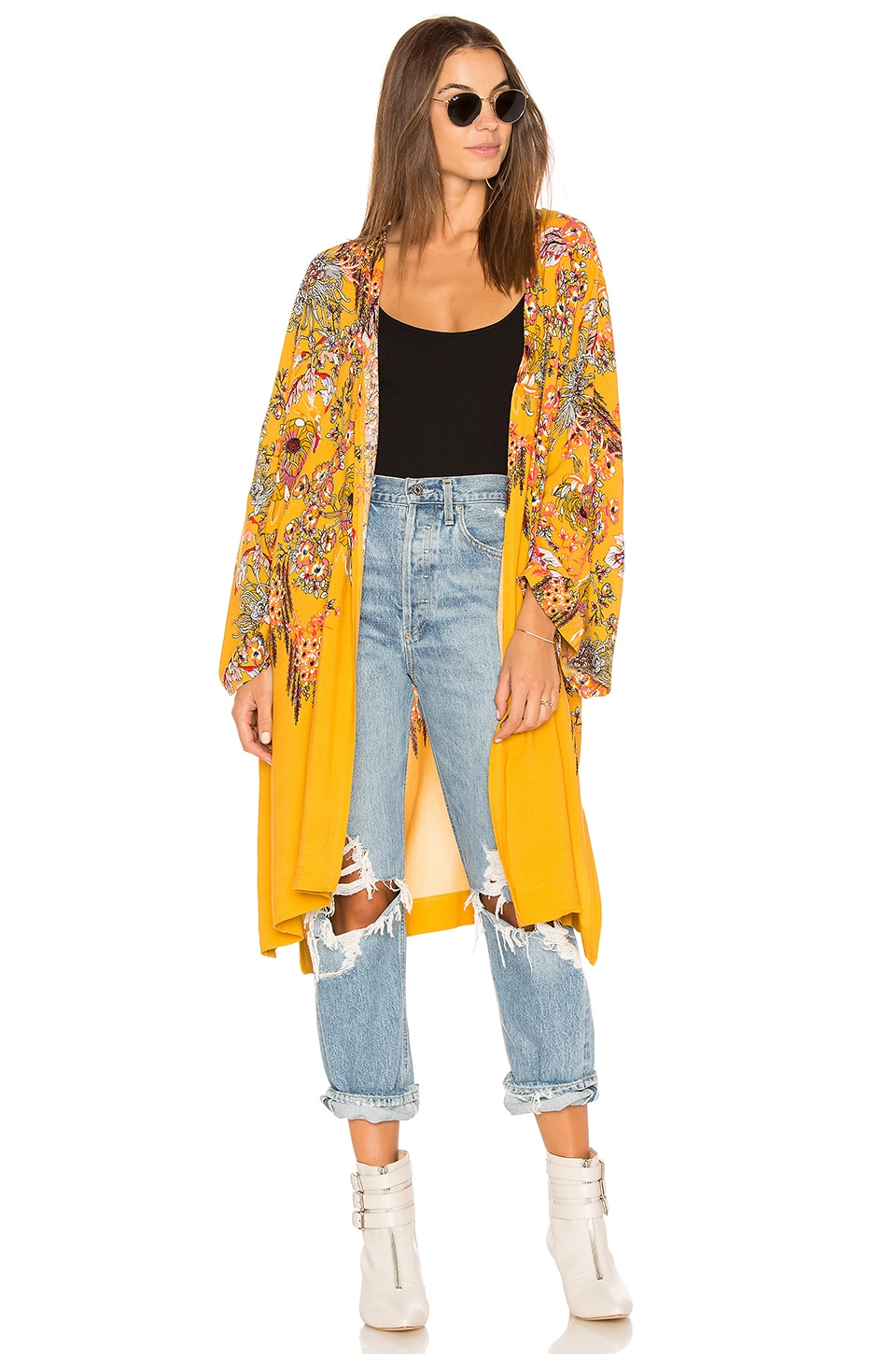 Free People Don't Know Kimono in Yellow Combo
