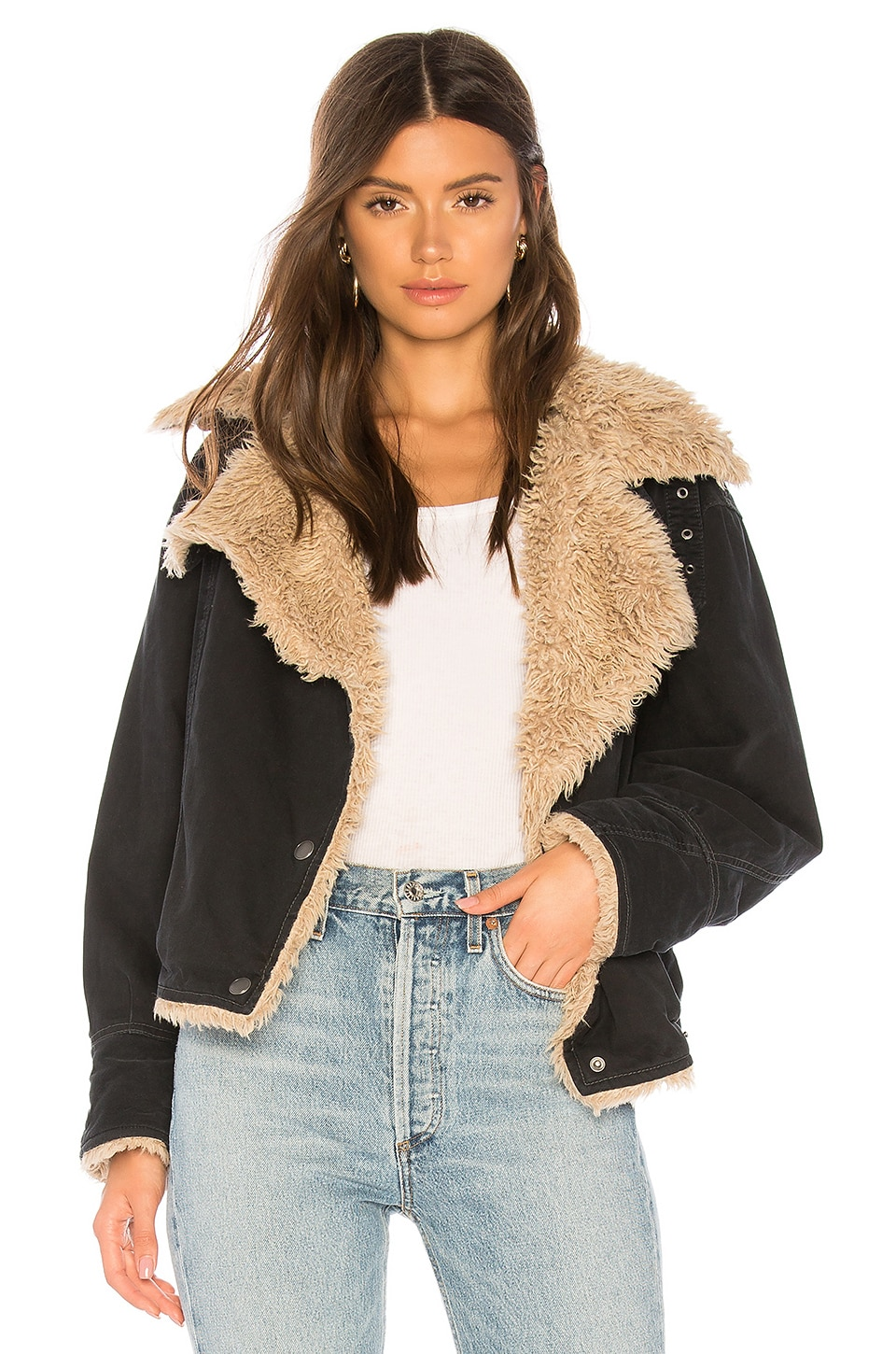 Free People Owen Faux Fur Sherpa Jacket in Black