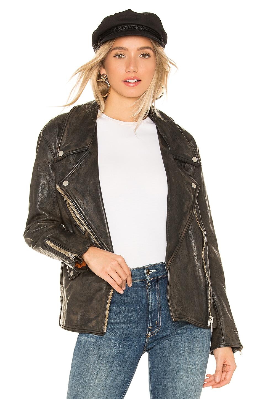 Free People Jealousy Leather Moto Jacket in Black
