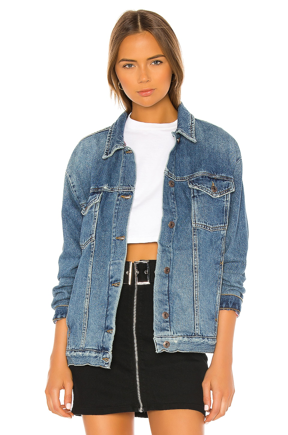 Free People Ramona Denim Trucker en Indigo Blue